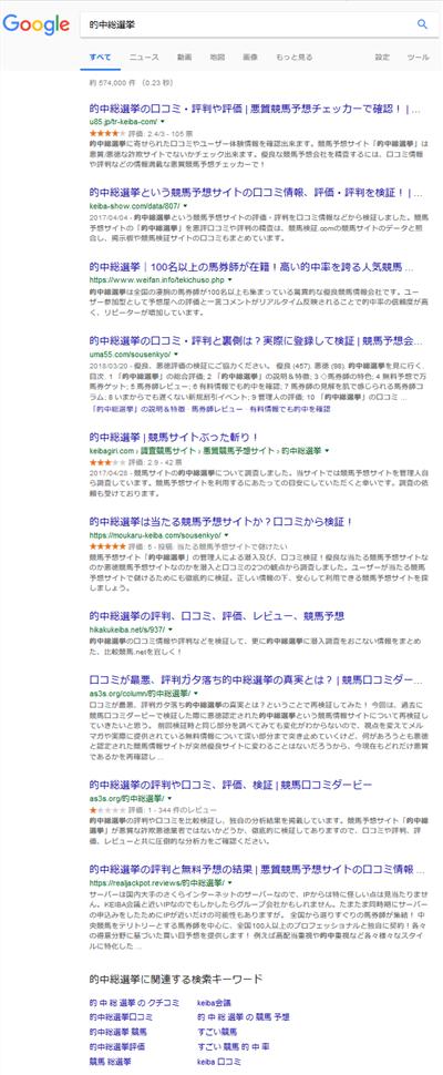 的中総選挙Google検索結果