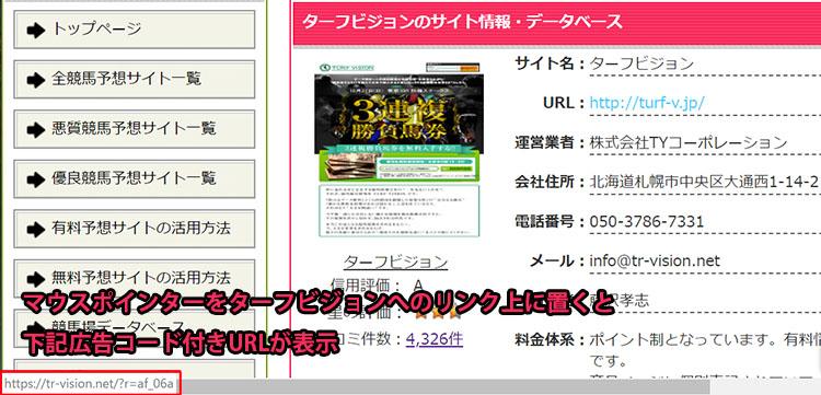ターフビジョン広告コード付きURL