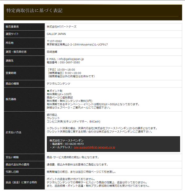 GallopJapanの特商法