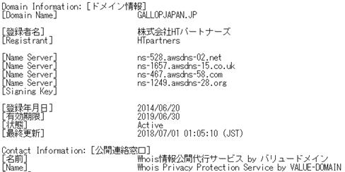 ギャロップジャパンドメインのWhois情報