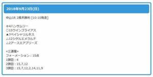 栗東会議9月23日中山1R