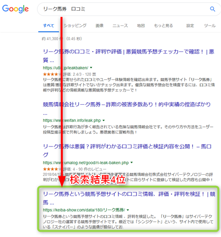 「リーク馬券 口コミ」と検索すると4位に表示されるサイト
