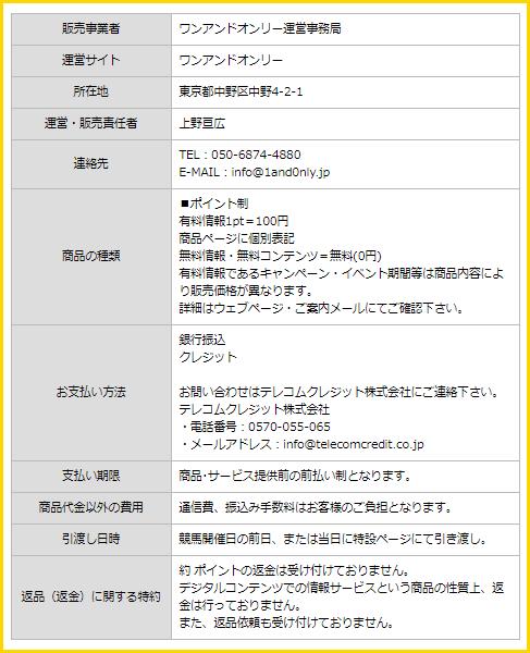ワンアンドオンリー特定商取引に基づく表記
