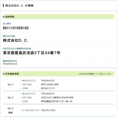 国税庁の法人番号公表サイトで調べてみると、東京都豊島区池袋3-34-7に株式会社D.C.が存在してる