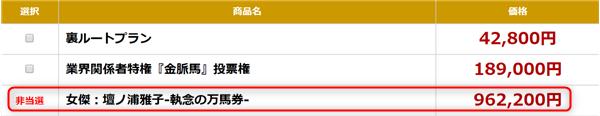 金の鞍 女傑:壇ノ浦雅子-執念の万馬券- 非当選時の販売価格