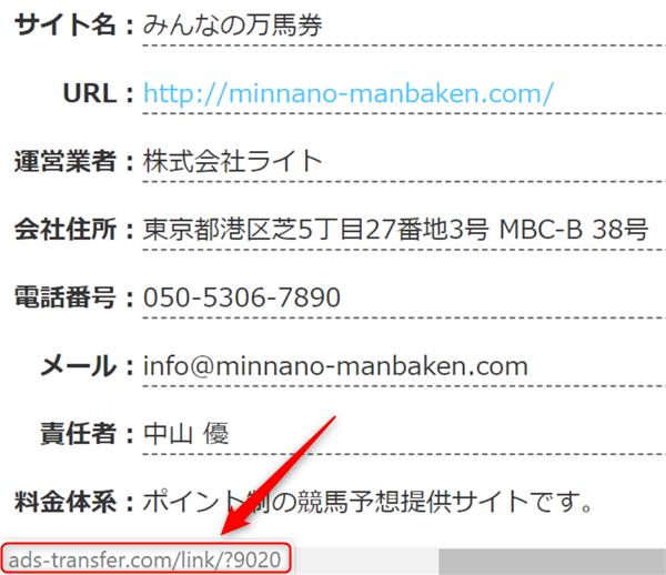 みんなの万馬券 口コミ評価サイトの転送URL