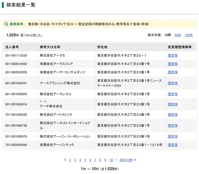 三競的中の法則 登記情報(住所検索結果)